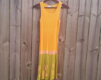S M Small Medium Vintage 90s Made In Indonesia Barracuda Bazaar 100% Rayon Boho Hippie Indie Hipster Festival Sundress Dress