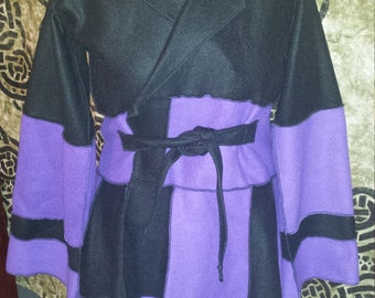 Purple and Black Fleece Pixie Coat - Inspired by Katwise - Size Large to Extra Large -  Elf, Fairy, Faerie, Jacket, Boho, Hippie, Bohemian