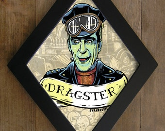 Herman Munster  from The Munsters. Dragster diamond framed print.