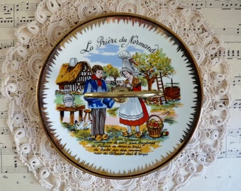 Vintage HANDLED NORMANDY PLATE. Humorous Plate with Country Scene and Calvados Prayer. Porcelain Serving Plate with Gilded Edges.