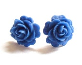Cobalt blue rose earrings, clip on or studs with antique bronze.  Dainty kitsch vintage style