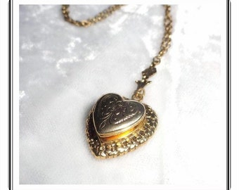Sweet Heart Locket & Chain Necklace w Vintage 1928 Jewelry Co. - Flower Motif Design  1833ag-012312000