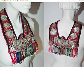 SHOP IS AWAY --- vintage Statement Necklace, Traditional Handmade Afghan Tassel Collar
