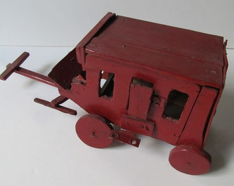 The Red Stagecoach: Vintage Folk Art Primitive Toy, Whimsical & Wonderful, Completely Hand Made, Wooden+Metal, Movable, Rustic Sweetheart