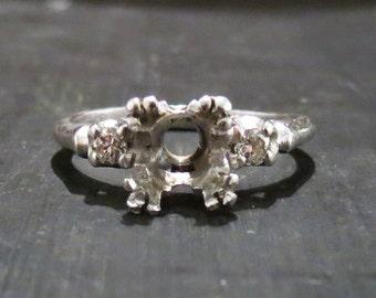 Art Deco Platinum Setting for 6.5-7.5mm Round Cut Stone (1.00-1.50ct Diamond), Vintage Setting, Vintage Mounting, Art Deco Setting