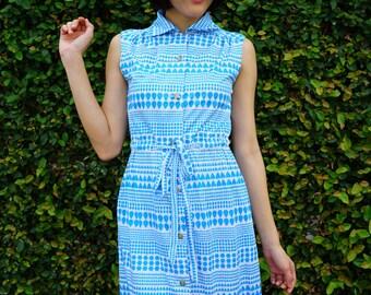 Vintage Dress, 1980s Dress, Vintage Japanese Dress, Vintage Womens Dress, Summer Dress, 80s Dress, Geometric Print, Heart Dress, Retro Dress