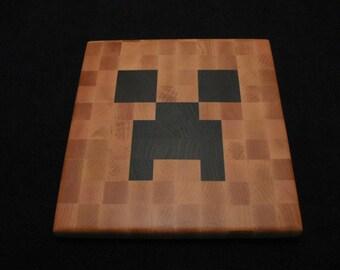 Minecraft Creeper - Cheese Board / Trivet - Wood Pixel Art