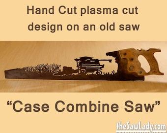 Metal Art Case Combine cutting corn design Hand (plasma) cut hand saw | Wall Decor | Garden Art | Recycled Art | Repurposed  - Made to Order