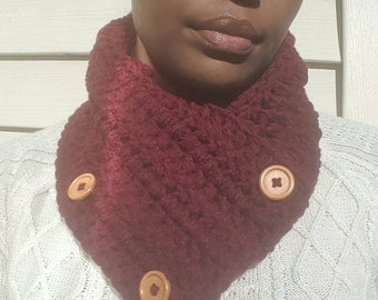 3-Button Convertible Scarf in Burgundy