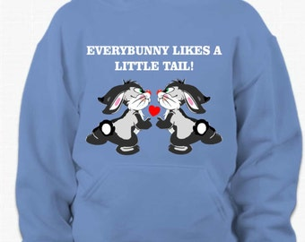 rabbits on hoodie, funny rabbit hoodie, Everybunny likes a little tail hoodie, bunny hooded sweatshirt, bunny lover shirt, rabbit lover top