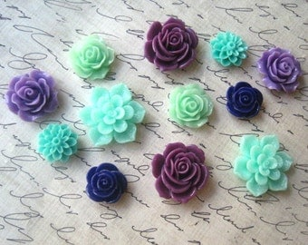 12 pcs Flower Cabochons, Mint Green, Aqua and Purple Cabochon Flowers, Resin Roses, Dahlias, Sakura, Perfect for DIY Jewelry