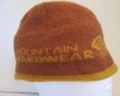 vintage, Mountain Hardwear burnt orange wool blend beanie skull head cap 6 panel one size fits all