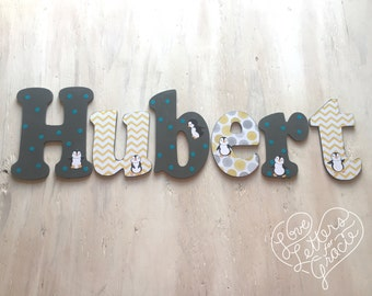 Custom Boy's Letters - Baby Boy's Nursery Letters - Boy's Room Decor, Nursery Name Letters - Penguin Nursery Letters - Price Per Letter