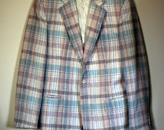 vintage wool plaid sportcoat mens size 41/42 by stanley blacker for donaldsons mens store