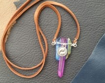 Multi Crystal Necklace with a Yin & Yang Charm