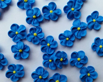 Mini royal blue royal icing flowers  -- Edible cake decorations cupcake toppers (24 pieces)