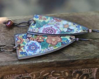 Boho Rustic 'Earth Gardens' Series Floral Tin earrings n100 - upcycled tin . metal artisan earrings . floral tin earrings . bohemian long