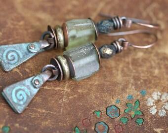 Bohemian Rustic Folk * Spiral * earrings n127- Roman glass earrings cast copper spiral charm  artisan mystical symbol . meditation spiritual