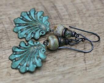 Rustic Boho Tribal 'Shell' earrings n46- artisan tribal bohemian . lead and nickel free metal . green patina brass . ocean beach  ceramic