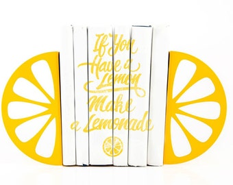 Unique design kitchen Bookends - Lemon - modern kitchen decor // decorative book holders // housewarming gift // FREE WORLDWIDE SHIPPING