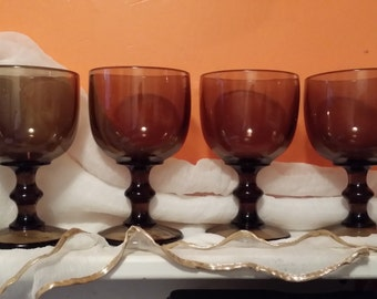 Brown Goblets Glass Water Footed Smoke Brown Vintage Gobets
