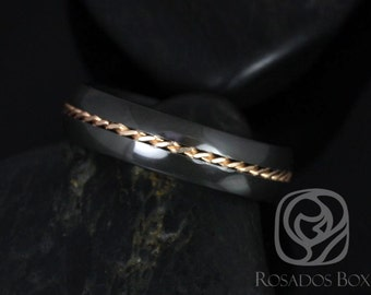Darth 6mm 14kt Rose Gold & Black Zirconium Single Braided Band