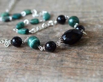 Extra long green necklace Gemstone chain Malachite turquoise onyx semi precious stone necklace Silver chain necklace Business casual jewelry