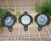 FREE SHIPPING Ornate Picture Frames & Mirror Set of 3,  Made in Italy Flowers Bouquet Oval Victorian Antique Bronze Metal Look Vintage (430)