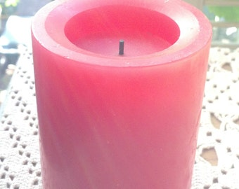 Vintage Red Pillar Candle Flameless Candle Size C Battery operated
