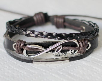 835 Black leather bracelet Charm bracelet Braided bracelet Men bracelet Women bracelet Woven bracelet Jewelry gift For men and women