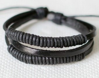 859 Black leather bracelet Woven leather jewelry Braided leather bracelet For men and women Leather cords and bands Simple bracelet
