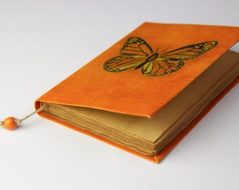 Butterfly diary, notebook, old, dyed paper, batik fabric, blank book, antique book, travel journal, orange