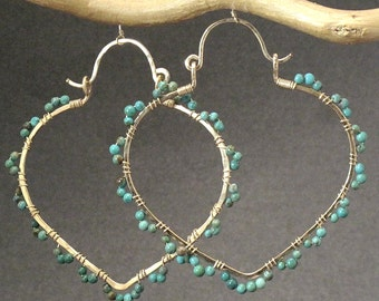 Hammered pointed hoops wrapped with turquoise Siren 216