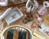 Vintage Mirrored Vanity Tray Celluloid Dresser Set Lefton Perfume Bottle Hand Vase Lipstick Caddy Sweater Guard Trinket Dish Doily