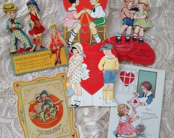 Vintage Valentine Boy and Girl Couples Romantic Paper Ephemera Hearts Love Greeting Cards