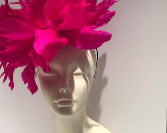 Pink Fascinator-Hot Pink Feather Fascinator-Handmade in USA- Fuschia Headpiece-Derby- Wedding-Kentucky Derby-Derby Headpiece-Ladies Luncheon