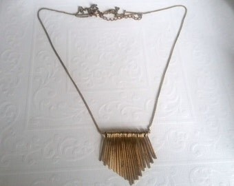 RESERVED FOR V/Vintage 90s Gold Fringe Pendant Necklace, Fringe Necklace, Modern, Bohemian Necklace