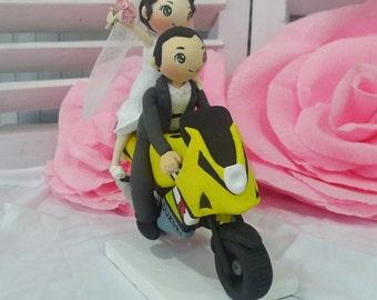 GSX R 1000 Suzuki yellow motorbike wedding cake topper clay doll,standing bride behind groom wave flower clay miniature, motorcycle wedding