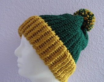Hat Chunky Brim Ribbed Beanie with Pom Pom Green Bay Packers Colors