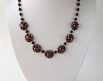 Chocolate Rhinestone Necklace. Romantic Gift. Classic Rhinestone Jewelry for Semi-Formal Dress Code. Vintage Style Rhinestone Jewelry. Topaz
