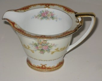 Noritake Fiesta Fine China Creamer Beautiful Vintage Japan - Floral Sprays Scroll Border Discontinued 1949