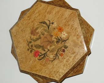 Wood Inlay Floral Music Jewelry Box Made in Italy w Reuge Swiss Movement Dr. Zhivago Lara's Theme Music