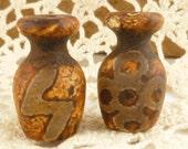 Rustic Earth Tone Focal Bead, Vase Barrel Agate Carved Symbol (2)