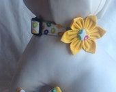 Dog Collar Flower/Bow Tie Set - Colorful Easter Eggs -  Size XS, S, M, L, XL