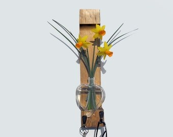 wooden key holder with small vase, reclaimed wood wall rack