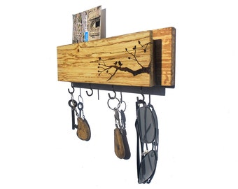Birds on a Branch - key holder with mailbox