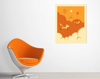 Ready-to-Hang Wood Print for the Kids Room, FLOCK OF FOXES by Jazzberry Blue