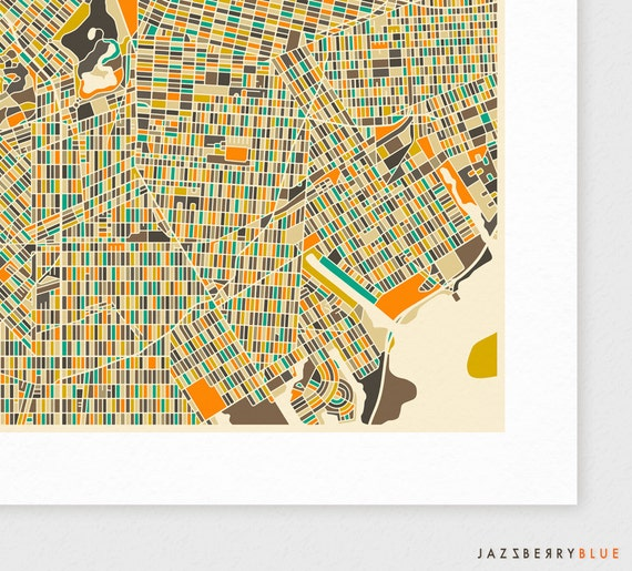 BROOKLYN Map, Giclee Fine Art Print, Modern Wall Art for the Home Decor