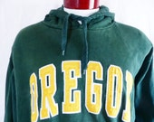 go UO Ducks vintage 90's University of Oregon Eugene forest green fleece hoodie graphic sweatshirt embroidered yellow gold white logo large