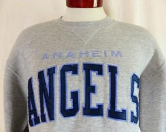 vintage 90's Anaheim Angels MLB Major league baseball team heather grey fleece graphic sweatshirt navy blue applique embroidered logo medium